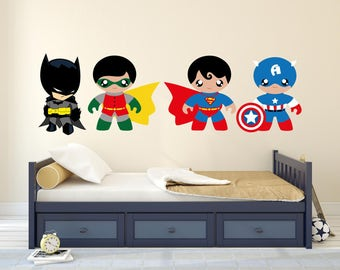 Cartoons Baby heroes team  Wall Decal - Baby Boy Room Nursery - Mural Wall Decal Sticker For Home Bedroom (MM)