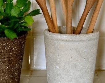 concrete utensil container, concrete jar, concrete kitchen canister, concrete utensil holder