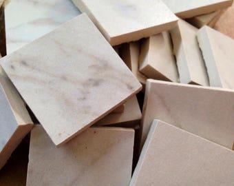 Mosaic tile supplies, set of (25) square white & gray tile pieces, mosaic tile, art supplies, mosaic craft project supplies, mosaic tile art
