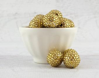 24mm Gold Rhinestone Beads