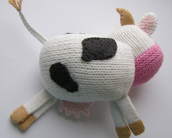 Knitting Pattern Cow Toy : COW Knitting Pattern PDF - Knitted Cow pattern Knitted animal pattern Black a...