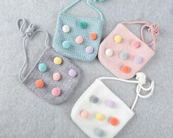 Toddler girl pompom bag, Little girls cross body bag,Pompom cross body bag, Kids pompom bag, Small bag, Mini pouch for girl, ribbonnkids