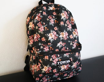 Floral Backpack Rucksack - Roses Daypack - Roses Blumen Backpack Bag Tasche - YDWYA