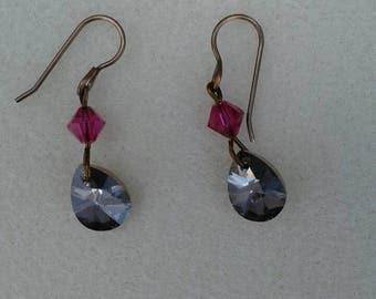 Teardrop Swarovski crystal earrings.
