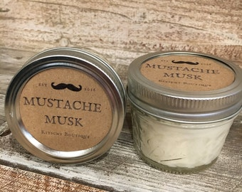 Mustache Musk. 4 oz Candle. Musk and Powder Scented. Mason Jar Candle.