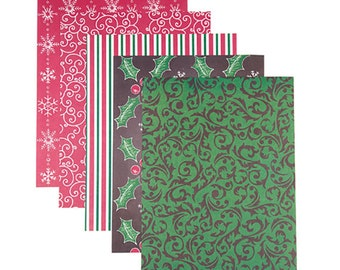 Patterned 8.5x11 Cardstock Paper Pack, Lux Christmas Prints, 25 Sheets