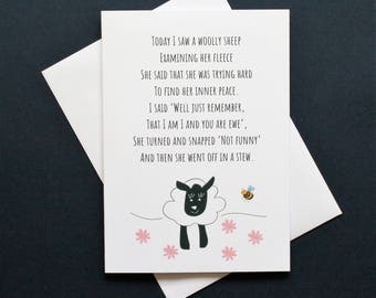 Funny sheep card, funny sheep card, inner peace card, sheep poem, sheep poem card, peace poem card, Josephine the sheep,