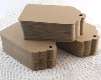 10 American Kraft tags tags size small 3cmx5cm scalloped