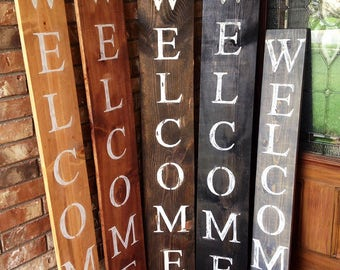 WELCOME SIGN, Home decor, RUSTIC Wood welcome sign, front door welcome sign, rustic welcome sign, gifts for her, home decorating, vertical