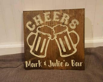 "Cheers Bar Sign 8"" x 9"" Painted Custom Wood Sign"