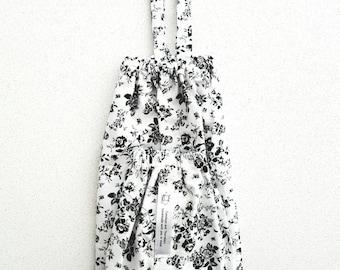 Plastic Bag Holder | Kitchen Storage | Plastic Bag Dispenser |  Hanging Bag Storage | Black and White Rose