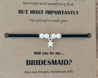 Will You Be My Bridesmaid, Friendship Bracelet, Proposal Bracelets, Ask Bridesmaid, Gift For Bridesmaids, Bridesmaid Idea, Vegan Jewellery