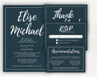 Printable, Digital Customized Simple Dark Blue Grey Gray, Wedding Invitation, RSVP , Accommodation Details Card, Thank you Card, Full Set