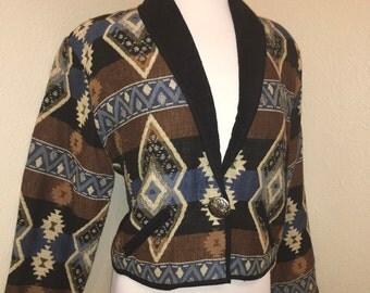 Vintage 1990's Southwestern Dessert Cropped top jacket made buNew Idenity, Medium