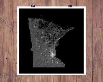 Minnesota Roads High Resolution Digital Print / Map of Minnesota / Minnesota Print / Minnesota Wall Art / Minnesota Poster / Minnesota Map