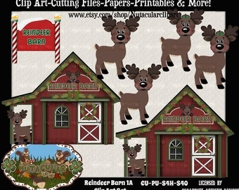 Reindeer Barn Clip Art Set 1A – Christmas Clip Art - Commercial use – Reindeer Clip Art -Scrapbooking Card Making Clip Art