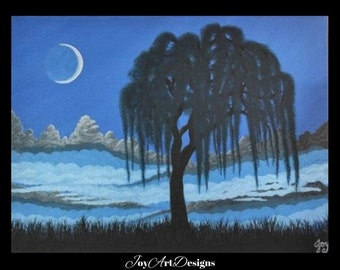 Crescent Moon Painting Willow Tree Original Fantasy Art On Canvas Metallic Colors Blue Black Mountains Landscape Gift Artwork Home Decor