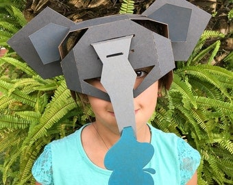 The Elephant, cardboard mask, hand made, Eco friendly, 3D Puzzle  Ask a question