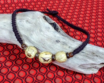 Men's Driftwood and Hemp Necklace. Eco-friendly, Recycled, Natural, Handmade, Unique. Surf Style, Beach Style, Boho Style.