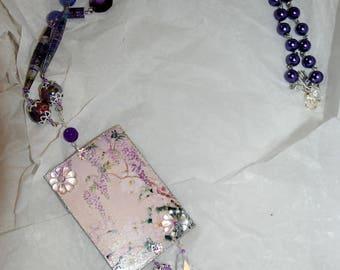 "Collana ""Botanica"" peonie e glicini - ""Botanica"" necklace peonies and wysteria"