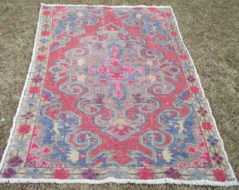 Vintage Rug Anatolian Turkish Handmade Rug Floor Rug Turkish Rug Turkish Area Rug Anatolian Rug 89 x 51 inches