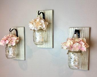 Mason Jar Wall Hanging, Lighted Mason Jars, Mason Jar Wall Sconces, Rustic Wedding, Mason Jar Wall Decor, Wall Hanging, Gift Ideas