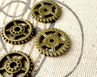 Steampunk cogs gears 10 bronze charms vintage style jewellery supplies C101