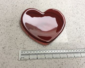 Glass heart dish; Red heart bowl