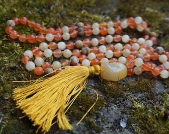 Jade, Orange Topaz,Picture jasper, Opal Guru, 108+1 beaded Mala