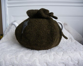 Felted Tea Cozy with pewter leaf embellishment