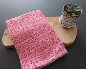 Handwoven Organic Cotton Linen Towel - Cherry
