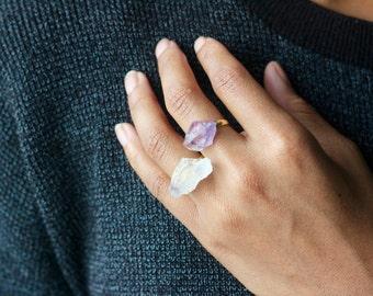 Tibetan Quartz Crystals + Amethyst Rings (One Size Fits All)