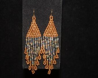 Gold and Multi-color long fringe earrings