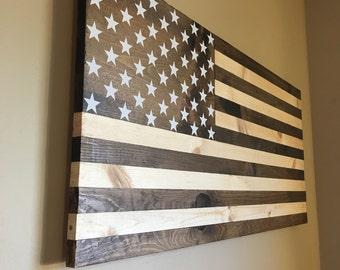 Dark walnut stained wooden American flag