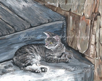 """Printable Illustration, Home Decor, Wall Decor Art Acrylic Painting, Instant Download """"cat"""""""