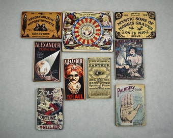Fortune Teller, Palmistry, Ouija Board ~ 9 Vintage Graphics On Wood Cuts ~  Art Project Embellishments / Scrapbook Supplies