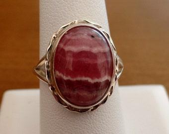 Handmade Sterling Silver 925 Rhodochrosite Ring 1014