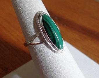 Handmade Sterling Silver Malachite Ring 1042