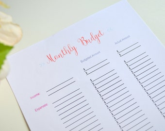Monthly Budget Printable, Income and Expenses, Budget Binder, Budget Binder printable, Finance Planner, Household Planner