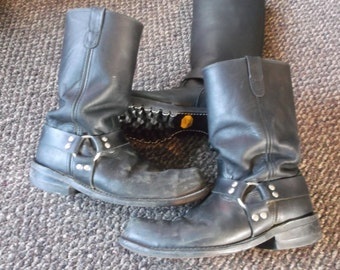 Men's Vintage Steel Toe WELL WORN Harness Boots Engineer Boots Motorcycle Boots Biker Boots TRASHED