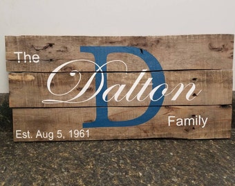 Custom Name Wood Sign, Wedding Gift Sign, Pallet Last Name Sign, Personalized Wood Sign, Rustic Sign, Established Date Family Sign