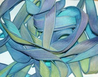 """1PC. PARAKEET 42"""" hand dyed wrist wrap bracelet silk ribbon//Yoga wrist wrap bracelet ribbons//Hand dyed Boho Silk wrist wrap ribbon"""
