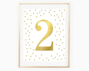 Gold Foil Second Birthday Party Decorations - Number 2 - 2nd Birthday Party - Gold Metallic - Gold Confetti Print - 2nd Birthday Party Sign