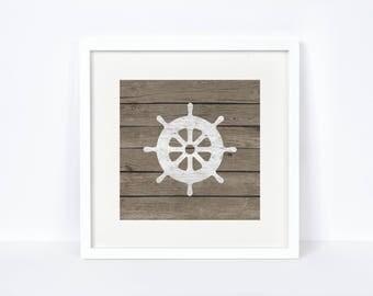 Nursery Baby Ships Wheel Print - Baby Room Nautical Decor - Digital Print - Nursery Decor - Rustic Decor - Weathered Wood - Nursery Art