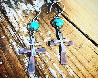 Sterling silver and copper cross earrings
