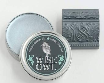 Metallic Silver Wax Wise Owl