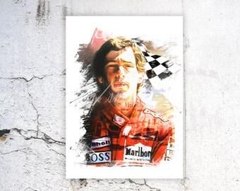 Ayrton Senna, Ayrton Senna Watercolor Print, Ayrton Senna Poster, Legends, F1, Ayrton Senna Portrait, Sports Poster, Wall Art Print, B-020