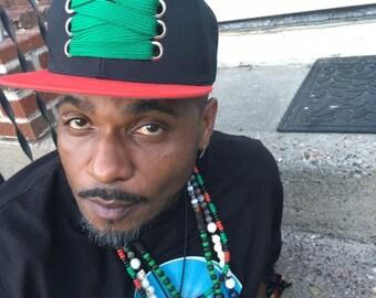 The Solidarity - RBG. Fat laces, flat brim custom snapback cap. Hip hop, B Boy style. Red, black & green. THC