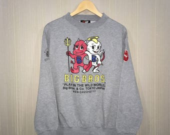Rare!! BIG BROS Sweatshirt Pullover Jumper Japan brand Grey Colour Medium Size