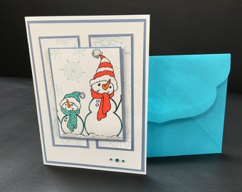 Cute Snowman Holiday Christmas Card Handmade Stamped Embossed - One of a Kind